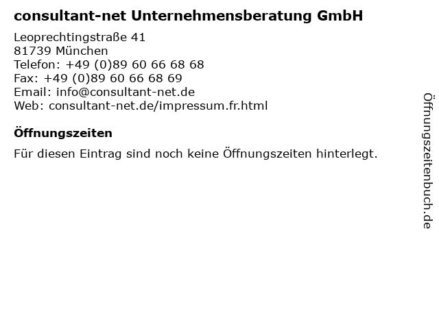 consultant-net Unternehmensberatung GmbH in München: Adresse und Öffnungszeiten