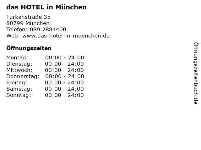 das HOTEL in München in München: Adresse und Öffnungszeiten