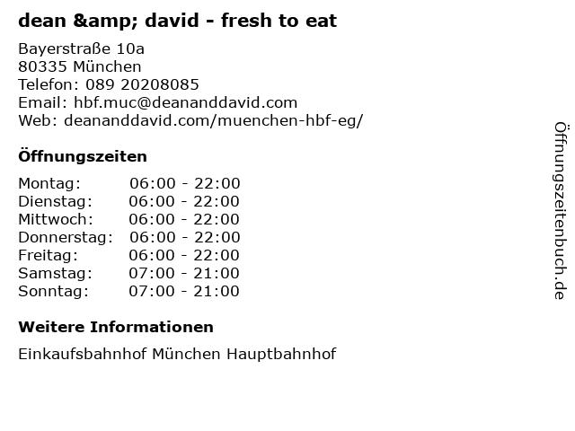 dean & david - fresh to eat in München: Adresse und Öffnungszeiten