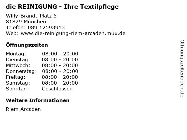die REINIGUNG - Ihre Textilpflege in München: Adresse und Öffnungszeiten