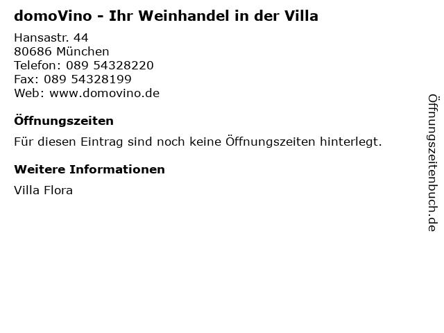 domoVino - Ihr Weinhandel in der Villa in München: Adresse und Öffnungszeiten