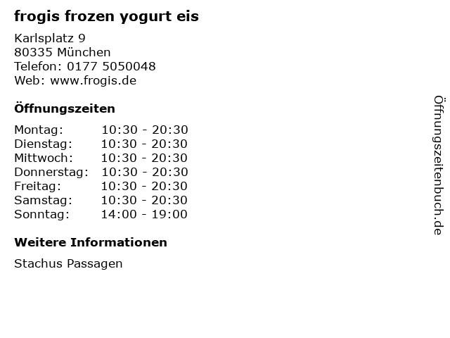 frogis frozen yogurt eis in München: Adresse und Öffnungszeiten