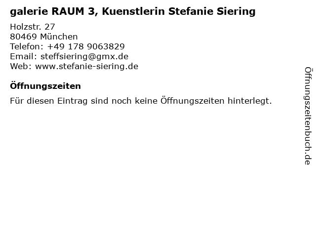 galerie RAUM 3, Kuenstlerin Stefanie Siering in München: Adresse und Öffnungszeiten