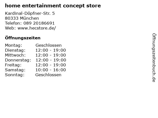 home entertainment concept store in München: Adresse und Öffnungszeiten