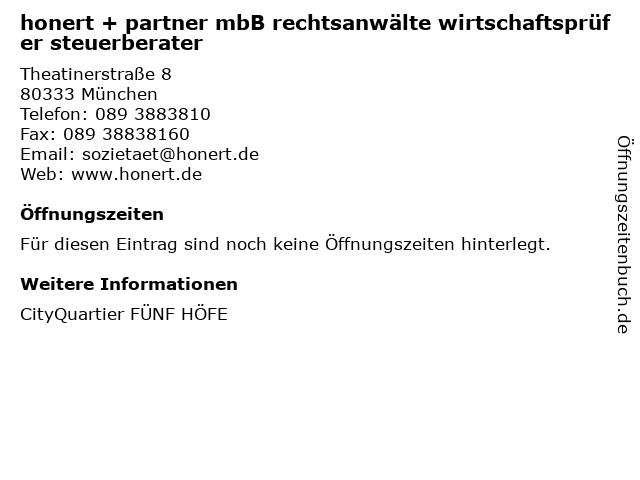 honert + partner mbB rechtsanwälte wirtschaftsprüfer steuerberater in München: Adresse und Öffnungszeiten