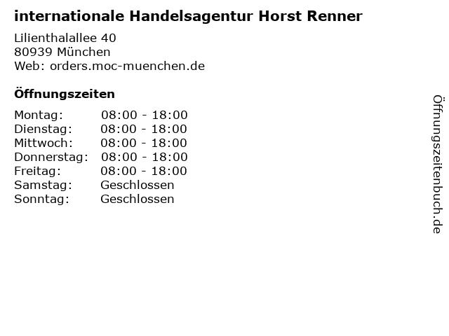 internationale Handelsagentur Horst Renner in München: Adresse und Öffnungszeiten