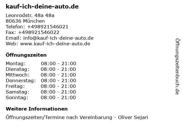 kauf-ich-deine-auto.de in München: Adresse und Öffnungszeiten