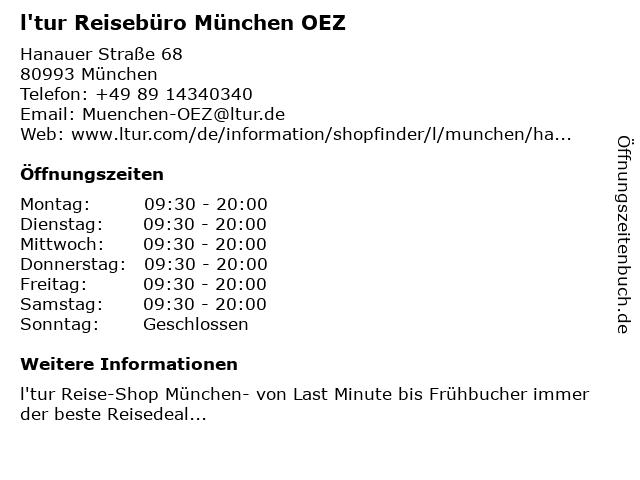 l'tur Reise-Shop München OEZ in München: Adresse und Öffnungszeiten