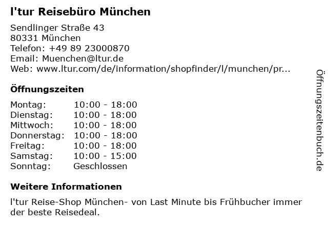 l'tur Reisebüro München in München: Adresse und Öffnungszeiten