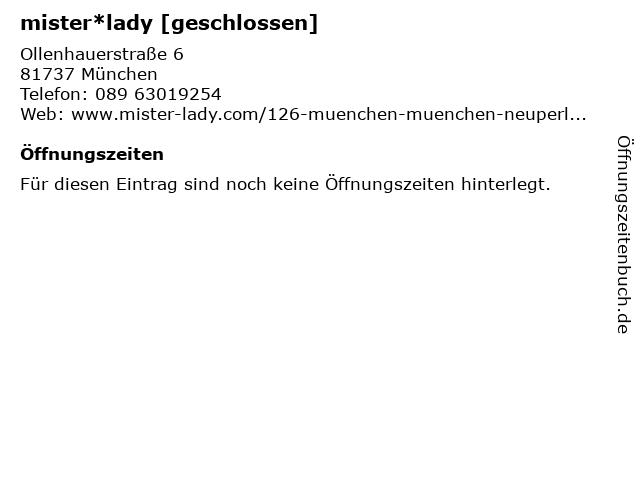 mister*lady GmbH in München: Adresse und Öffnungszeiten