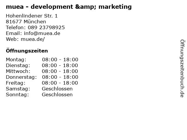 muea - development & marketing in München: Adresse und Öffnungszeiten