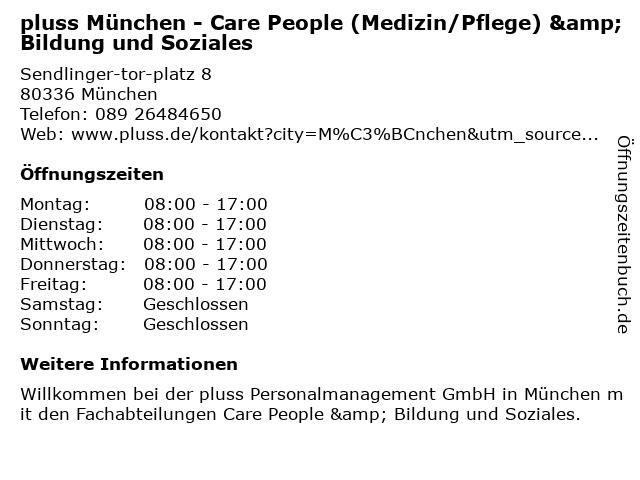 pluss München - Care People (Medizin/Pflege) & Bildung und Soziales in München: Adresse und Öffnungszeiten