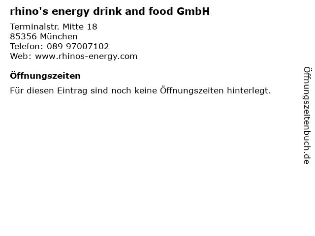 rhino's energy drink and food GmbH in München: Adresse und Öffnungszeiten