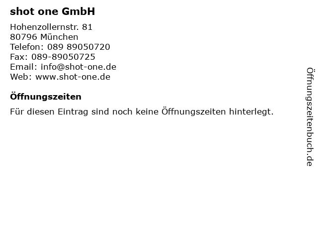 shot one GmbH in München: Adresse und Öffnungszeiten