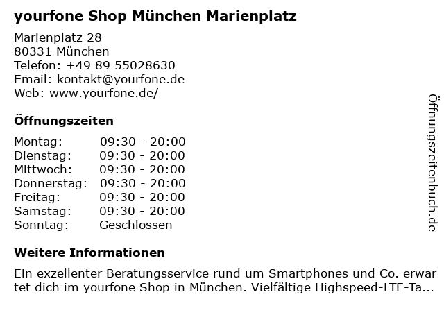 yourfone Shop München Marienplatz in München: Adresse und Öffnungszeiten
