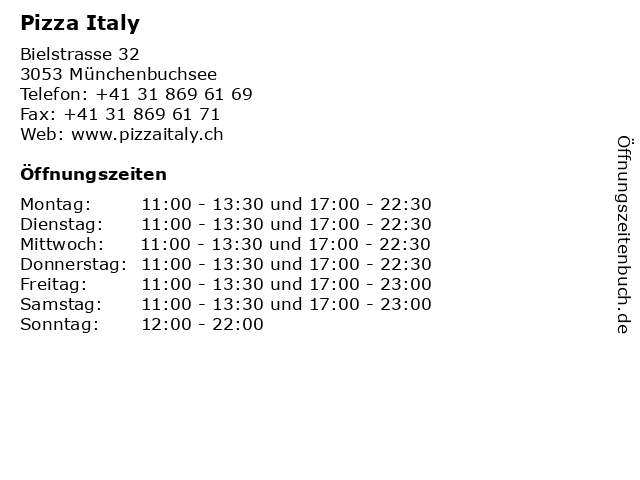 Pizza Italy in Münchenbuchsee: Adresse und Öffnungszeiten