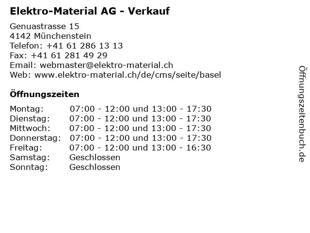 Elektro-Material AG - Verkauf in Münchenstein: Adresse und Öffnungszeiten