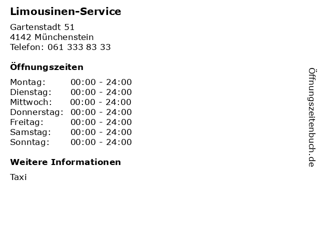 Limousinen-Service in Münchenstein: Adresse und Öffnungszeiten