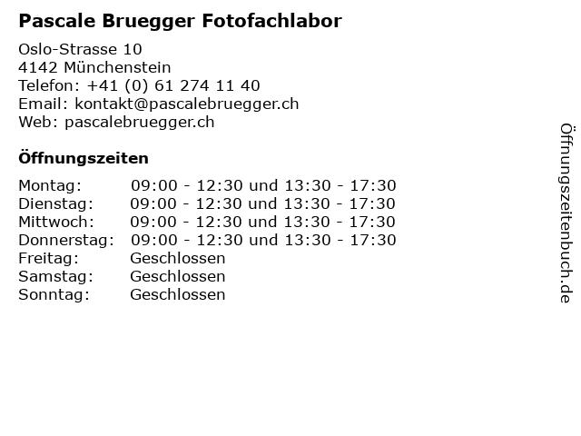 Pascale Bruegger Fotofachlabor in Münchenstein: Adresse und Öffnungszeiten
