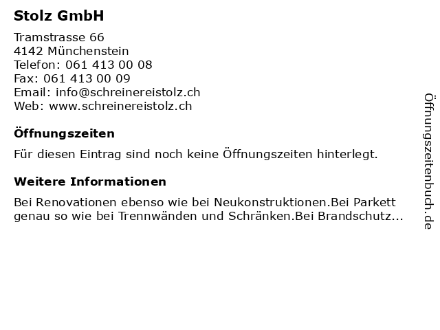 Stolz GmbH in Münchenstein: Adresse und Öffnungszeiten