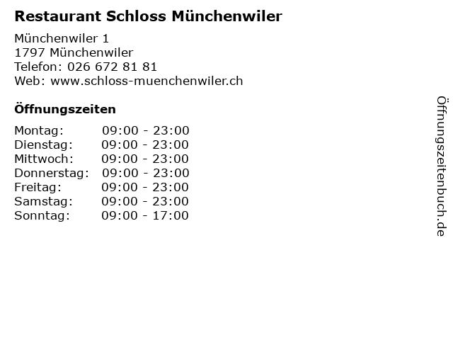 Restaurant Schloss Münchenwiler in Münchenwiler: Adresse und Öffnungszeiten