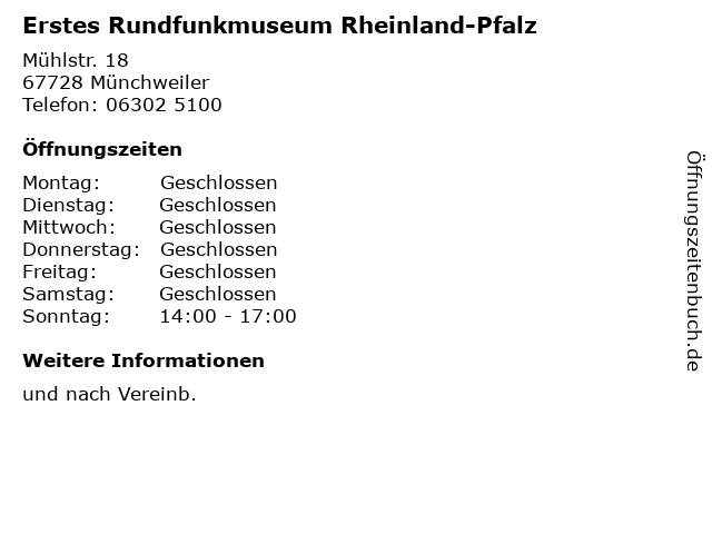 Erstes Rundfunkmuseum Rheinland-Pfalz in Münchweiler: Adresse und Öffnungszeiten