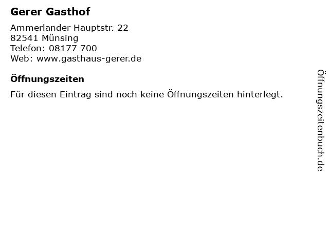Gerer Gasthof in Münsing: Adresse und Öffnungszeiten