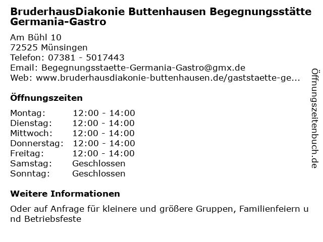 BruderhausDiakonie Buttenhausen Begegnungsstätte Germania-Gastro in Münsingen: Adresse und Öffnungszeiten