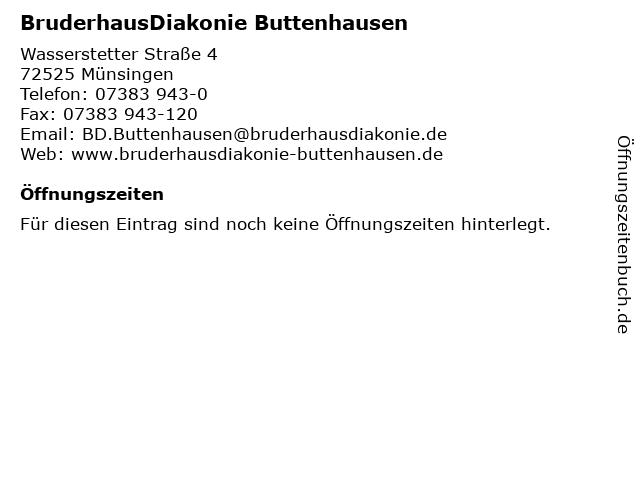 BruderhausDiakonie Buttenhausen in Münsingen: Adresse und Öffnungszeiten