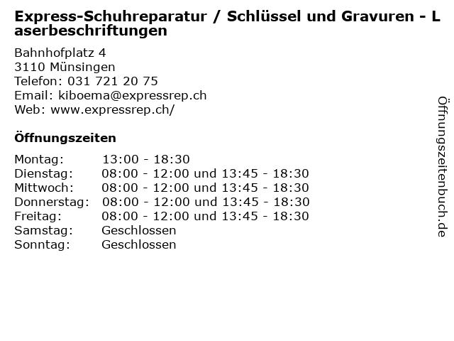Express-Schuhreparatur / Schlüssel und Gravuren - Laserbeschriftungen in Münsingen: Adresse und Öffnungszeiten