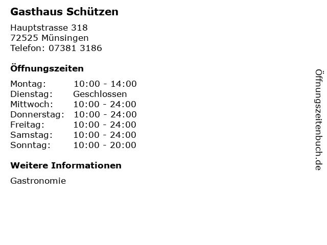Gasthaus Schützen in Münsingen: Adresse und Öffnungszeiten