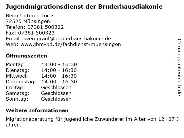 Jugendmigrationsdienst der Bruderhausdiakonie in Münsingen: Adresse und Öffnungszeiten
