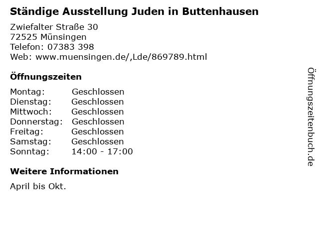 Ständige Ausstellung Juden in Buttenhausen in Münsingen: Adresse und Öffnungszeiten
