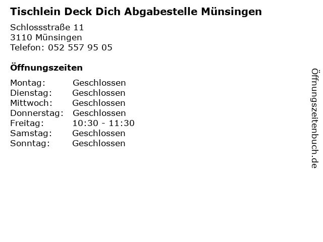 Tischlein Deck Dich Abgabestelle Münsingen in Münsingen: Adresse und Öffnungszeiten