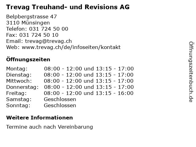 Trevag Treuhand- und Revisions AG in Münsingen: Adresse und Öffnungszeiten