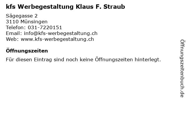 kfs Werbegestaltung Klaus F. Straub in Münsingen: Adresse und Öffnungszeiten