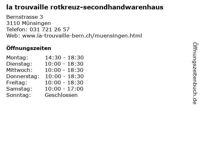 la trouvaille rotkreuz-secondhandwarenhaus in Münsingen: Adresse und Öffnungszeiten