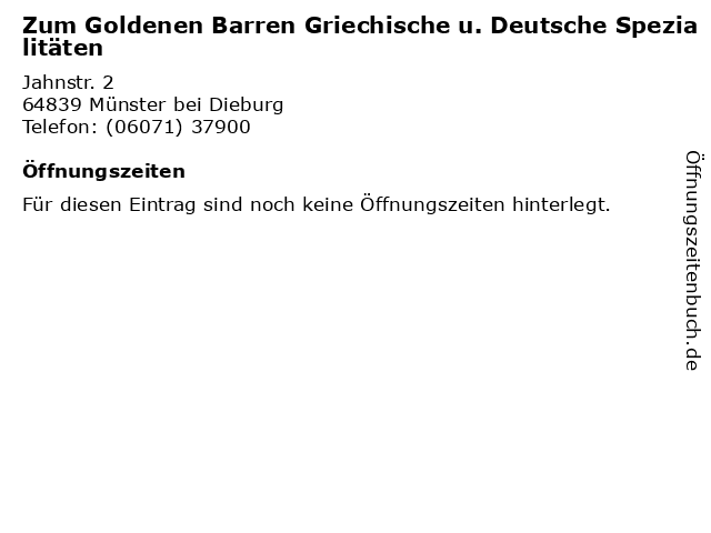 Zum Goldenen Barren Griechische u. Deutsche Spezialitäten in Münster: Adresse und Öffnungszeiten