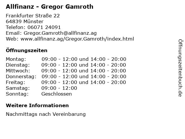 Allfinanz - Gregor Gamroth in Münster: Adresse und Öffnungszeiten