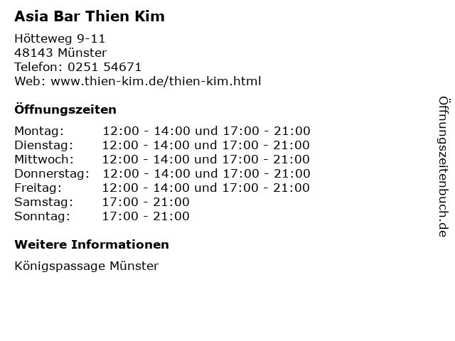 Asia Bar Thien Kim in Münster: Adresse und Öffnungszeiten