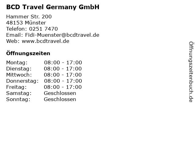 BCD Travel Germany GmbH in Münster: Adresse und Öffnungszeiten