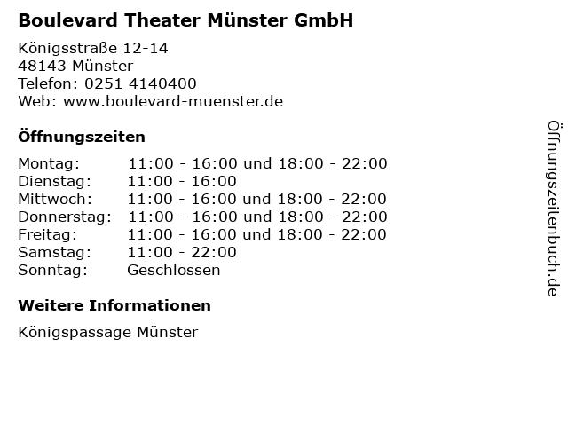 Boulevard Theater Münster GmbH in Münster: Adresse und Öffnungszeiten