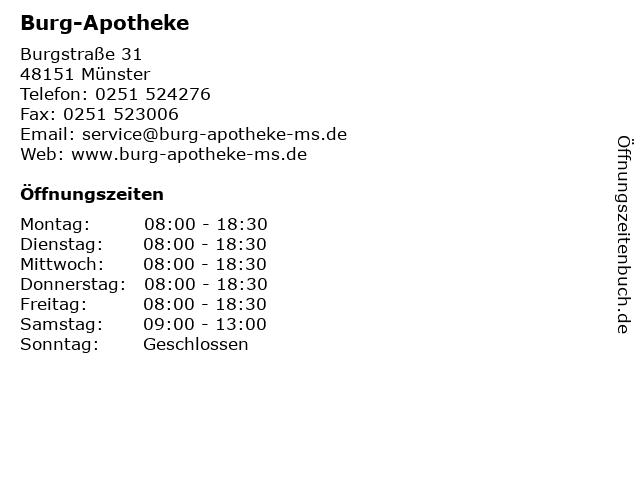 Burg-Apotheke in Münster: Adresse und Öffnungszeiten