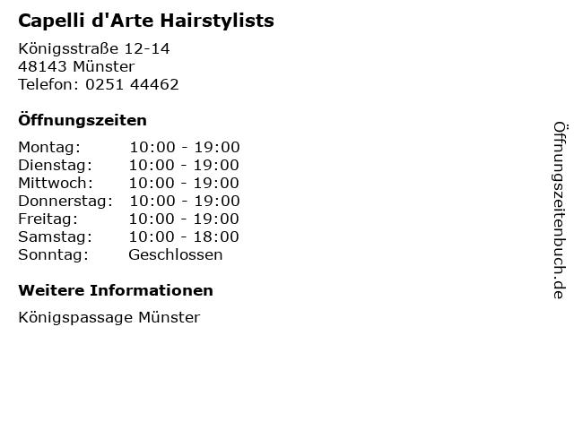 Capelli d'Arte Hairstylists in Münster: Adresse und Öffnungszeiten