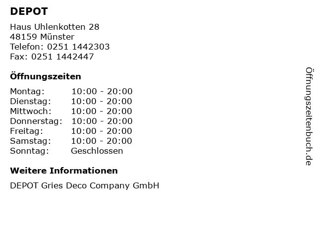 ᐅ öffnungszeiten Depot Gries Deco Company Gmbh Haus Uhlenkotten