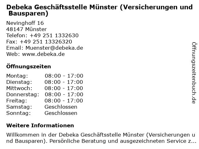 ᐅ Offnungszeiten Debeka Geschaftsstelle Munster Windthorststr