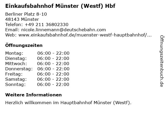 Einkaufsbahnhof Münster (Westf) Hbf in Münster: Adresse und Öffnungszeiten