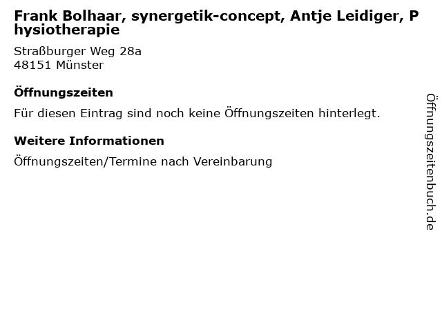 Frank Bolhaar, synergetik-concept, Antje Leidiger, Physiotherapie in Münster: Adresse und Öffnungszeiten