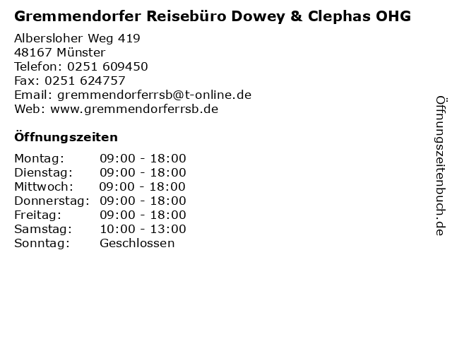 Gremmendorfer Reisebüro Dowey & Clephas OHG in Münster: Adresse und Öffnungszeiten