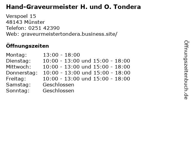 Hand-Graveurmeister H. und O. Tondera in Münster: Adresse und Öffnungszeiten